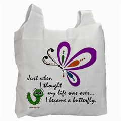 Butterfly White Reusable Bag (one Side)