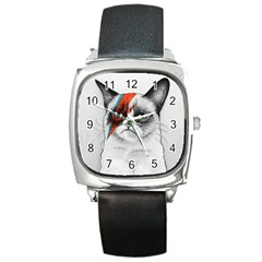 Grumpy Bowie Square Leather Watch