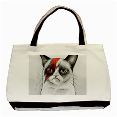Grumpy Bowie Twin-sided Black Tote Bag