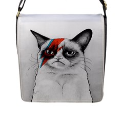 Grumpy Bowie Flap Closure Messenger Bag (large)