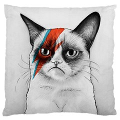 Grumpy Bowie Large Flano Cushion Case (One Side)