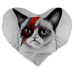 Grumpy Bowie Large Flano Heart Shape Cushion