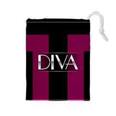 Pink Diva  Drawstring Pouch (Large)