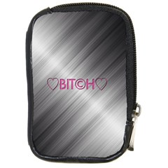 Shiny Metal Hearts Bit?h Compact Camera Leather Case