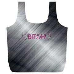 Shiny Metal Hearts Bit?h Reusable Bag (XL)