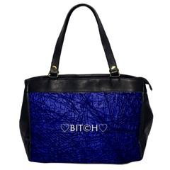 Blue Bit?h Oversize Office Handbag (one Side)