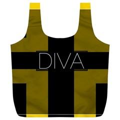 Diva Yellow Black  Reusable Bag (XL)
