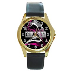 Classy Chics Vape Pink Smoke  Round Leather Watch (gold Rim)