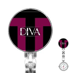 Pink Diva  Stainless Steel Nurses Watch