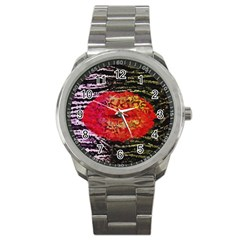 Abstract Lips  Sport Metal Watch