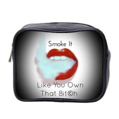 Smoke It Blk&white Lips  Mini Travel Toiletry Bag (two Sides)