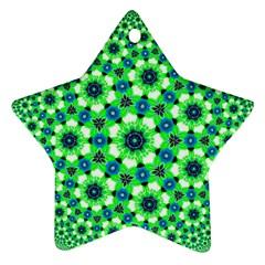 Green Flower Rosette Star Ornament (two Sides)