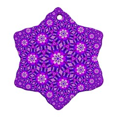 Purple Flower Rosette Snowflake Ornament (Two Sides)