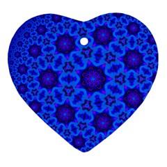 Blue Flower Rosette Heart Ornament (two Sides)