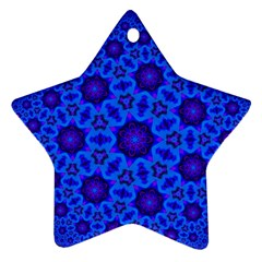 Blue Flower Rosette Star Ornament (two Sides)