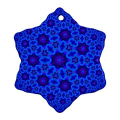 Blue Flower Rosette Snowflake Ornament (Two Sides)