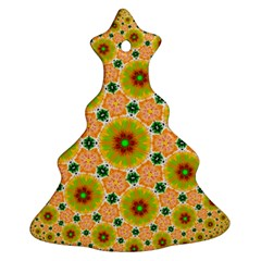 Yellow Flower Rosette Christmas Tree Ornament (two Sides)
