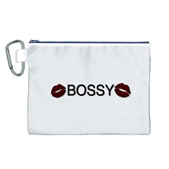 Bossy Lips  Canvas Cosmetic Bag (Large)