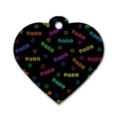 Meow Print Dog Tag Heart (one Sided)