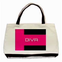 Diva Hot Pink Twin-sided Black Tote Bag