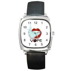 Vape Mouth Smoke  Square Leather Watch