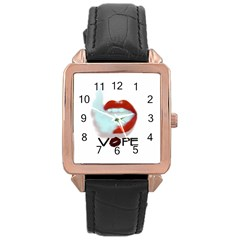Vape Mouth Smoke  Rose Gold Leather Watch