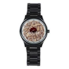 Bossy Snake Texture  Sport Metal Watch (black)