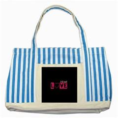 Love Yo self  Blue Striped Tote Bag