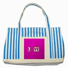 Love Yo self  Blue Striped Tote Bag