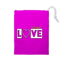 Love Yo self  Drawstring Pouch (Large)