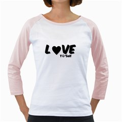 Love Yo self  Women s Long Cap Sleeve T-Shirt (White)