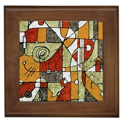 Multicolored Abstract Tribal Print Framed Ceramic Tile