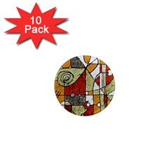 Multicolored Abstract Tribal Print 1  Mini Button Magnet (10 Pack)