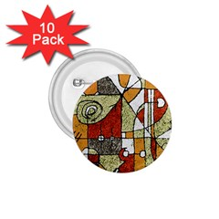 Multicolored Abstract Tribal Print 1 75  Button (10 Pack)