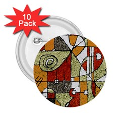 Multicolored Abstract Tribal Print 2 25  Button (10 Pack)