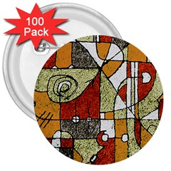 Multicolored Abstract Tribal Print 3  Button (100 Pack)