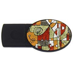 Multicolored Abstract Tribal Print 2gb Usb Flash Drive (oval)