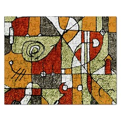 Multicolored Abstract Tribal Print Jigsaw Puzzle (rectangle)