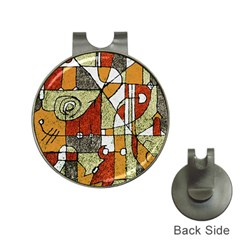 Multicolored Abstract Tribal Print Hat Clip With Golf Ball Marker