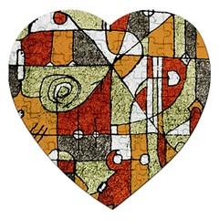Multicolored Abstract Tribal Print Jigsaw Puzzle (heart)