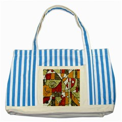 Multicolored Abstract Tribal Print Blue Striped Tote Bag