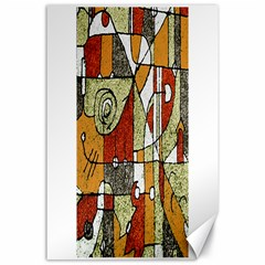 Multicolored Abstract Tribal Print Canvas 24  x 36  (Unframed)