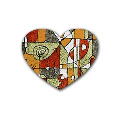 Multicolored Abstract Tribal Print Drink Coasters (heart)