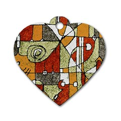 Multicolored Abstract Tribal Print Dog Tag Heart (one Sided)