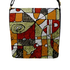 Multicolored Abstract Tribal Print Flap Closure Messenger Bag (large)