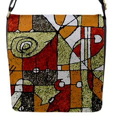 Multicolored Abstract Tribal Print Flap Closure Messenger Bag (small)