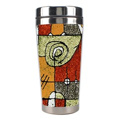 Multicolored Abstract Tribal Print Stainless Steel Travel Tumbler