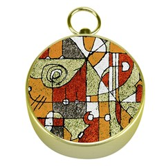 Multicolored Abstract Tribal Print Gold Compass