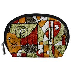 Multicolored Abstract Tribal Print Accessory Pouch (Large)