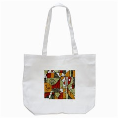 Multicolored Abstract Tribal Print Tote Bag (white)